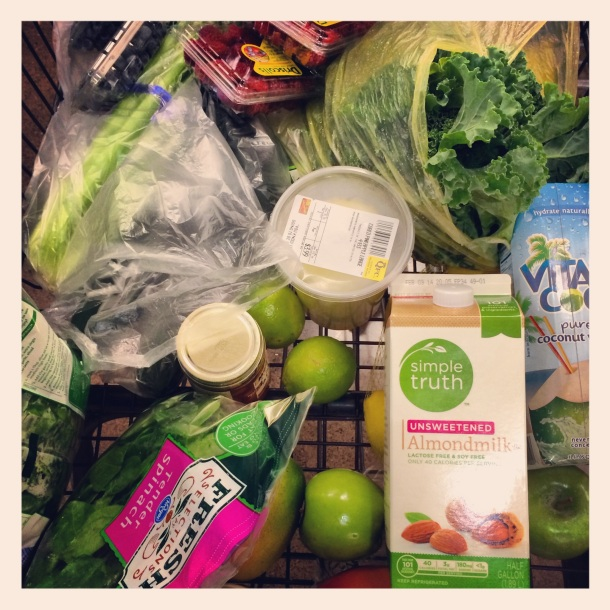 Groceries for 3-day cleanse… total came to about $60 (save some money by buying frozen fruit!)