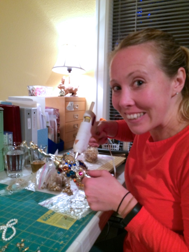 In the midst of making the Bachelor trophy!
